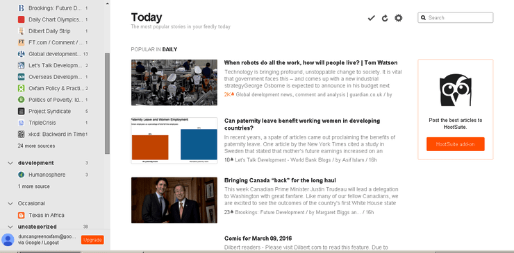 Feedly is another popular alternative to the Google RSS feed